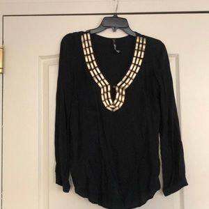 Plenty by Tracy Reese black and gold silk tunic